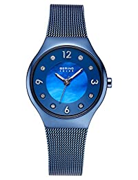 BERING Time 14427-393 Womens Solar Collection Watch with Milanese Band and scratch resistant sapphire crystal. Designed in Denmark.