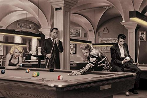 Game of Fate (Pool) with James Dean Marilyn Monroe Elvis Presley and Humphrey Bogart by Chris Consani 36x24 Art Print Poster Wall Decor Celebrity Movie Stars At Pool Hall Icons (Chris Consani Game)