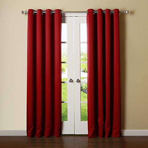 Best Home Fashion Thermal Insulated Blackout Curtain - Stainless Steel Nickel Grommet Top - Cardinal Red - 52