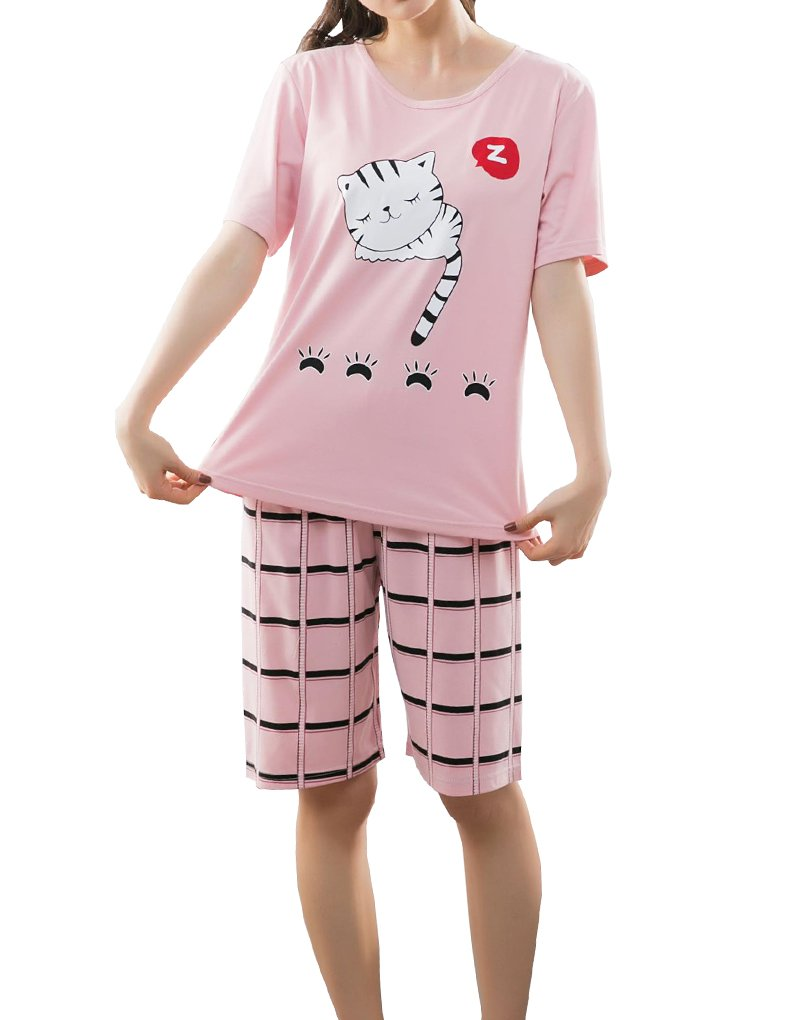 YUEXIN Big Girls Lovely Sleepy Cats Cartoon Loungewear Summer Pajamas Nightwear