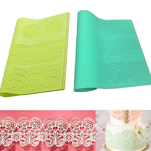 Braid Patty Mildew - Silicone Lace Flower Mat Embosser Fondant Cake Mold Pattern Baking Tool - Twine Bar Moulding Plait Coat Shape Enlace Mould Interlace Model Clay Sculpture Spike - 1PCs