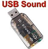 USB Sound Card Adapter USB 3D Virtual 5.1 Stereo & MIC PC Desktop Laptop