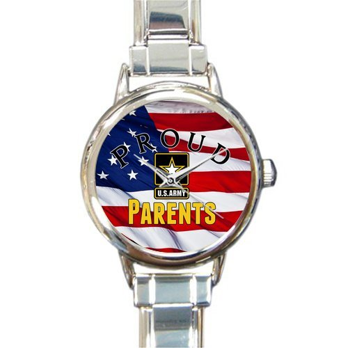 (Special Design Military Proud US Army Parents and American Flag Round Italian Charm Watch)