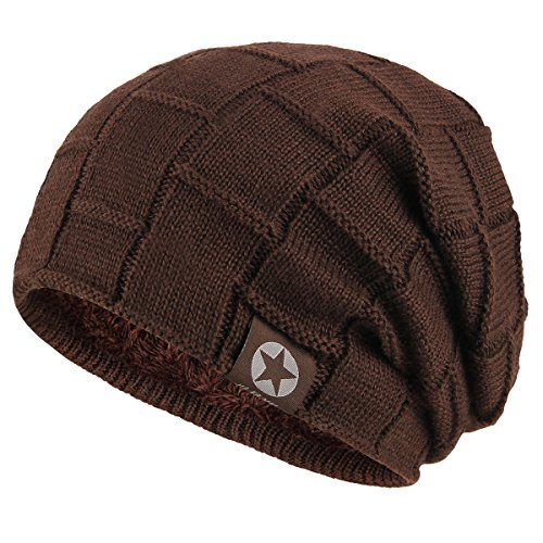 (Bodvera Winter Knit Wool Warm Hat Thick Soft Stretch Slouchy Beanie Skully Cap,Coffee)