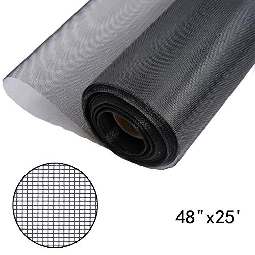 (Shatex Window Screen Mesh, DIY Fiberglass Screen Replacement Black Mesh Fabric, Moquito/Insect Barrier, Invisible & Fireproof 48
