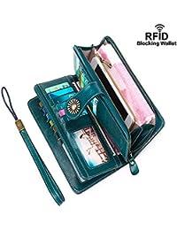 Women Wallets RFID Blocking Genuine Leather Ladies Wallets, Long Trifold Clutch Purse, Large Capacity Zipper Wallet