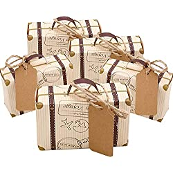 Faylapa 100 Sets Travel Themed Suitcase Candy Boxes Vintage Kraft Paper Gift Bag for Travel Theme Party Wedding Birthday Bridal Shower