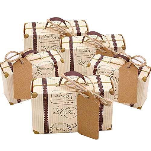 Faylapa 50 Sets Travel Themed Suitcase Candy Boxes Vintage Kraft Paper Gift bag for Travel Theme Party Wedding Birthday Bridal Shower -