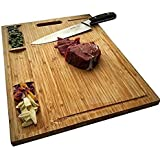 Large Bamboo Wood Cutting Board for Kitchen, Butcher Block, Chopping Cheese Carving Board, Serving Tray with 3 Built in Dividers and Juice Grooves