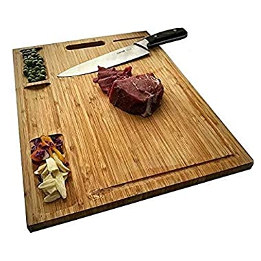 Allsum Large Bamboo Kitchen Cutting Board With 3 Built-In Dividers And Juice Grooves, Reversible Heavy Duty Chopping Board For Meats Bread Fruits, Butcher Block, Carving Board, BPA Free