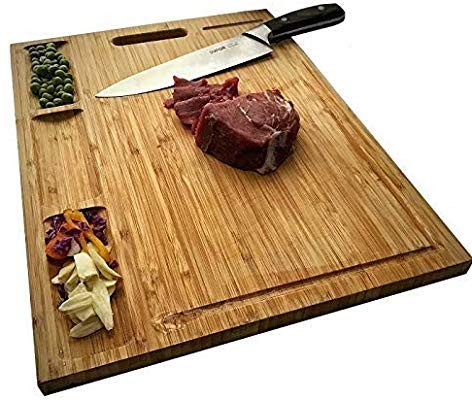 Reversible Heavy Duty Chopping Board For Meats Bread Fruits Allsum Large Bamboo Kitchen Cutting Board With 3 Built-In Dividers And Juice Grooves BPA Free AllsumCB Carving Board Butcher Block