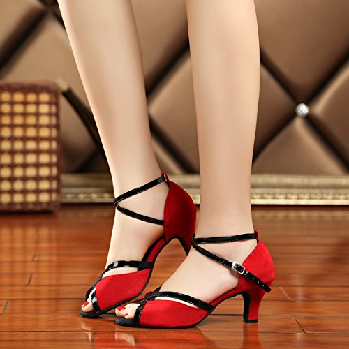 Heel Heel High Red Leather 6cm Ballroom Dance Women's Latin Suede L194 Sandals Minitoo Salsa wfHqO4
