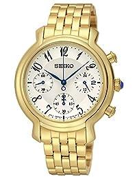 Seiko Women's SRW874 Casual Gold Chronograph with Cabochon Wrist Watch