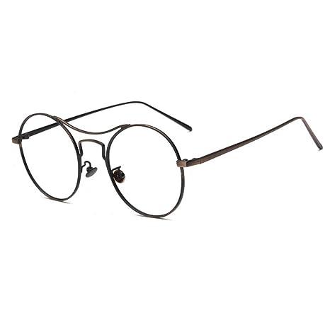 Forepin® Uomo Donna Rotonda Montatura Occhiali da Vista Occhio Frame Struttura Vetri Ottici Pianura Vetro Plain Half-Rim Occhiali - Colore 02 DBLtF2W0