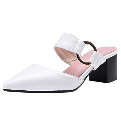 de55fe298 Zanpa Femmes Mode Boucle Chaussures d'été Bloc Talon Pointe Toe ...