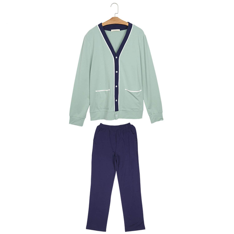 Thadensama Homewear Men Casual Patchwork Pajama Sets Male Mo Cotton Sleepwear Suit Mens V-Neck Collar Cardigan Shirt /& Pants Green M