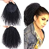 Short Afro Kinky Curly 4B 4C Clip in Ponytails Extensions Brazilian Natural Human Hair Drawstring Puff Clip On Ponytails for Black Women (14 inches, Afro Kinky Curly 4B 4C)