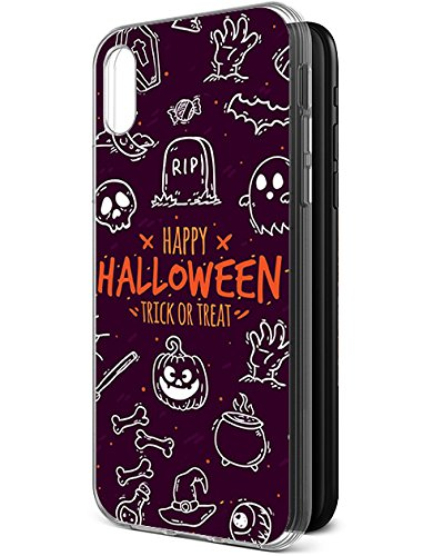 Cute Case with TPU Protective Bumper Cover for Apple iPhone X/iPhone 10 (2017) Doodle on Halloween Theme Purple -