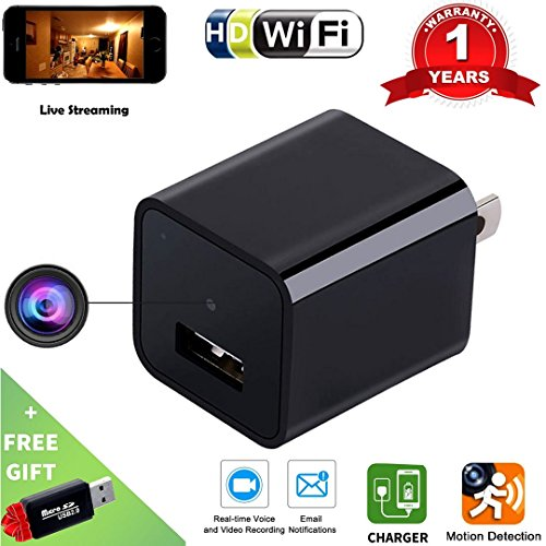 Wi-Fi Hidden Camera USB Phone Charger-HD 1080P Spy Cameras-AC Wall Plug Adapter Cam- Motion Detection  -APP Remote Video View -Nanny Cam / For Home Security -Kids , Pets Surveillance - Frames App Eyeglass