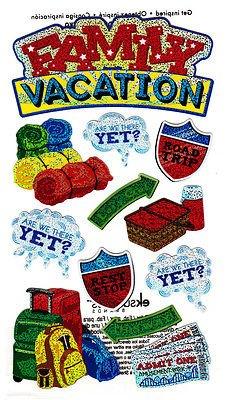 """FAMILY VACATION"" - 12 Foil Pieces -Sticko EK Success Sticker/Tropical, Beach"