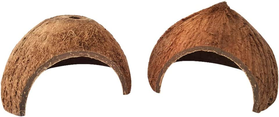 POPETPOP 2Pcs Hermit Crab Climbing Toys - Coconut Shell Natural Hut Reptile Hideouts/Lizard/Leopard/Spider/Snake and Aquarium Fish Hide Cave, Fish Betta Hut Hideout