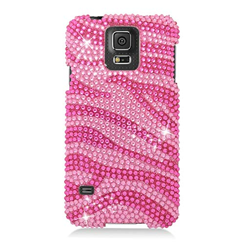 Insten Zebra Rhinestone Diamond Bling Hard Snap-in Case Cover Compatible with Samsung Galaxy S5 SM-G900, Pink/Hot Pink
