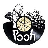 Winnie the Pooh Vinyl Record Wall Clock - Get unique Nursery Room wall decor - Gift ideas for kids, baby - Amazing Unique Modern Walt Disney Fan Art