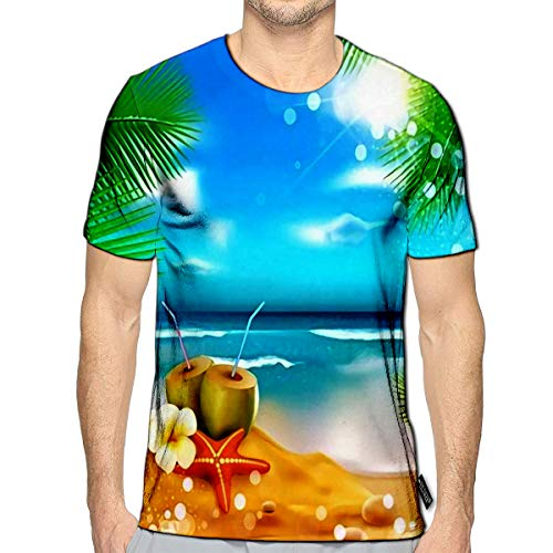 YILINGER 3D Printed T Shirts The Sea Palm Trees Coconut Cocktail Star Casual Mens Hipster Top Tees c