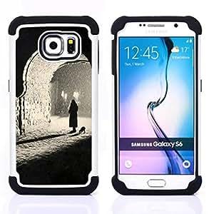 Samsung Galaxy S6 / SM-G920 - 3 en 1 impreso colorido de Altas Prestaciones PC Funda chaqueta Negro cubierta gel silicona suave ( Sombre photo profonde)