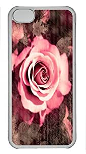 Custom design PC Transparent Case Cover For iPhone 5C DIY Durable Shell Skin For iPhone 5C with Custom design PC Transparent Case Cover For iPhone 5C DIY Durable Shell Skin For iPhone 5C with Pink Rose