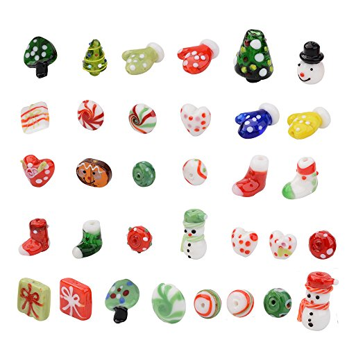 Pandahall 16pcs/box Random Mixed Style Christmas Theme Lampwork Glass Beads Sets 11~26x11~17mm for DIY Jewelry Making Art Glass Focal Bead