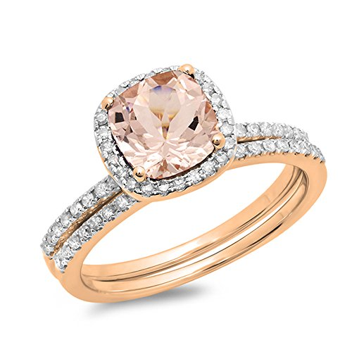 Dazzlingrock Collection 10K Rose Gold Cushion Cut Morganite & Round White Diamond Bridal Halo Engagement Ring Set (Size 8.5)
