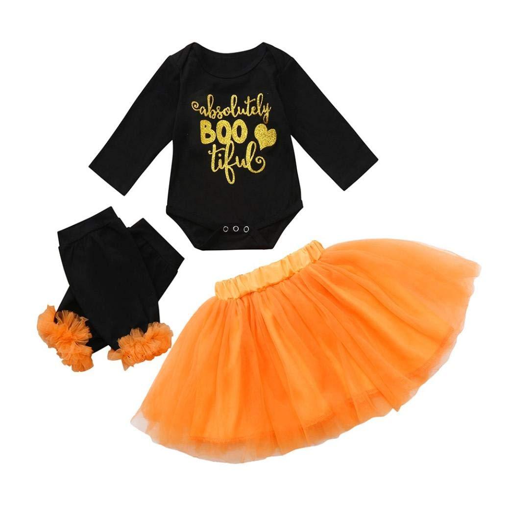 kaiCran Baby Clothes Girl,Newborn Baby Girls Letter Print Bodysuit Romper+Skirt+Legging Cute Halloween Clothes Sets