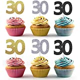 36pcs Golden Silver Black Number 30 Cupcake Toppers 30th Birthday Celebrating Party Decors