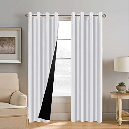 H.Versailtex White Blackout Curtains (2 Layers) - Elegant Rich Faux Silk with Black Thick Liner, Thermal Insulated Solid Grommet Curtains, Total Privacy Assured (Set of 2, 52 x 84 Inch, White)
