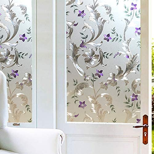 Iris Flower Frosted Non Adhesive Decorative Window Film, Static Cling Glass Film, Removable Privacy Door Film Window Cling, Stained Glass Window Decoration Heat Control Anti UV, 35.5×118.2 inch