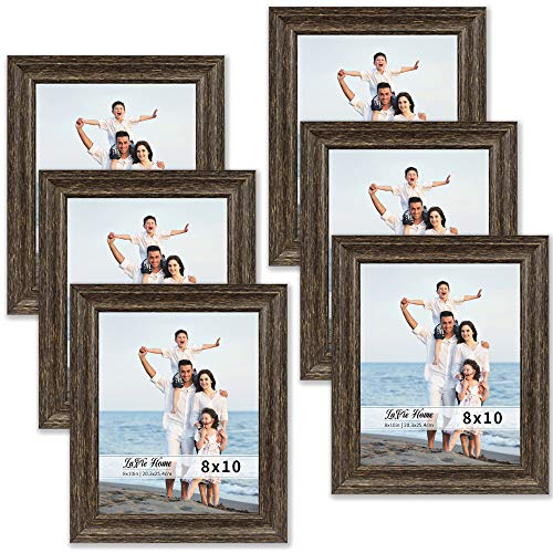 LaVie Home 8x10 Picture Frames (6 Pack, Brown Wood Grain) Rustic Photo Frame Set with High Definition Glass for Wall Mount & Table Top Display