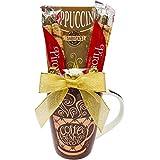 Christmas Gift Basket Coffee Gift Set - Gift for Women - Gift for Men - Cappuccino, Christmas Chocolates and 16oz Ceramic Mug.