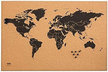 Idena 10415 - Tablón de corcho con mapamundi negro, incluye 6 chinchetas, aprox. 60 x 40 cm, ideal como imagen de pared, decoración y para el lugar de trabajo.: Amazon.es: Oficina y papelería