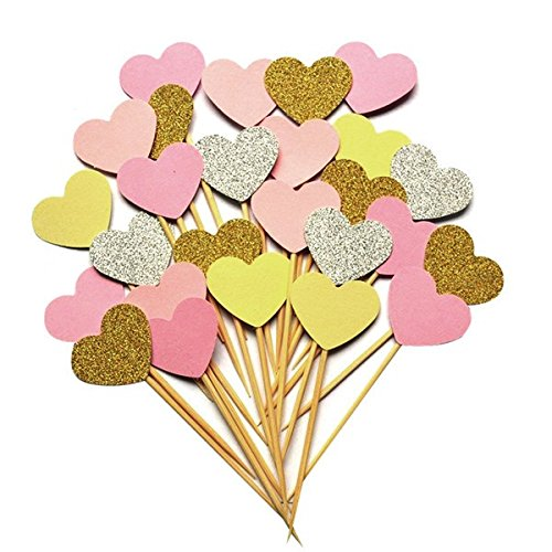 iMagitek 20pcs Pink Theme Glitter Hearts Cake Decorations for Wedding Party, Baby Girls First Birthday Party and Baby Girls Baby Shower -