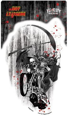 Grim Reaper on Motorcycle Sticker Hot Leathers Decal