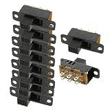 10 Pcs High Knob 6 Pin 3 Position DPDT Panel Slide Switch 0.5A 50V DC