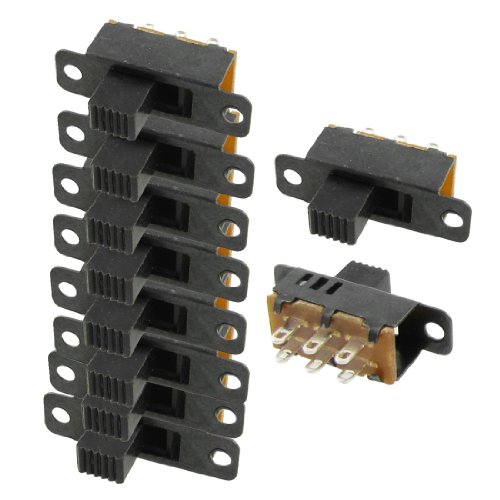 uxcell 10 Pcs High Knob 6 Pin 3 Position DPDT Panel Slide Switch 0.5A 50V -