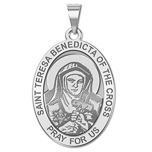 Oval Round Cross - Saint Teresa Benedicta of the Cross - Oval Religious Medal - 3/4 Inch X 1 Inch in Sterling Silver