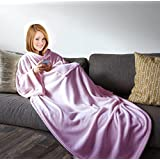 Napa Luxury Lounging Super Soft Microplush Fleece Adult Robe Wearable Blanket with Sleeves Throw for Women and Men - Sealed Packaging - Pink