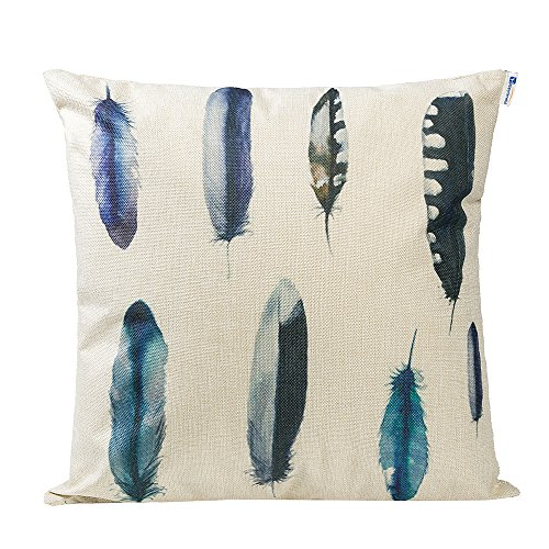 Mecor Happytimelol 18 x 18 Cotton Linen Throw Pillow Case Cover (3D Feather Style 3)