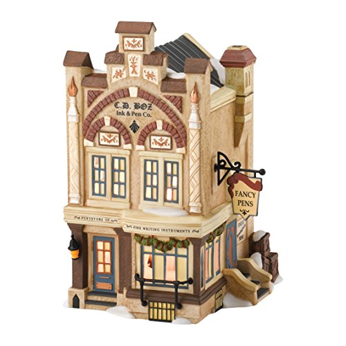Department 56 Dickens' Village C.D. Boz Ink and Pen Lit House, 6.9 inch