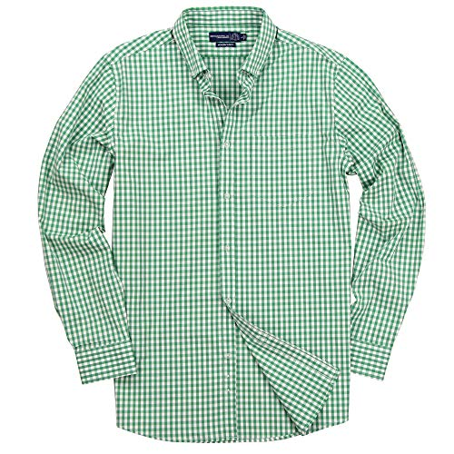 Benjamin & Walls Men's Long Sleeve Button Down Stretch Fit Gingham Plaid Shirt (Green/White Plaid, Large)