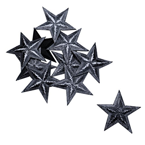 HOUSWEETY 10pcs Black Star Embroidered Iron On/Sew On Badge Applique Patch ()