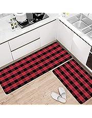 "Pauwer Anti Fatigue Kitchen Rug Sets 2 Piece 17""x47""+17""x28"" Non Slip Cushioned Kitchen Floor Mats Comfort Standing Mat Waterproof Stain Resistant"
